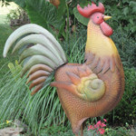 "48"" Large Iron Garden Rooster - Brown"