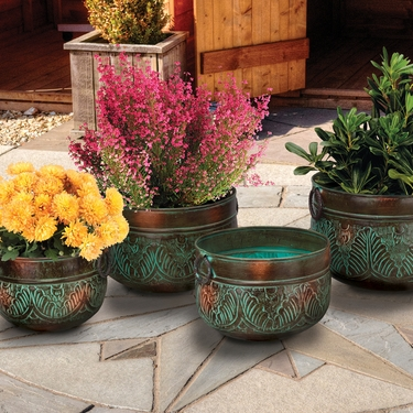 Bronze Leaves Nesting Planters (Set of 4) - Click to enlarge