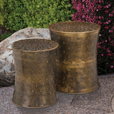 Bronze Lotus Garden Stools & Planters (Set of 2) - Click to enlarge