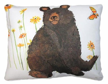 Brown Bear w/Yellow Butterfly Outdoor Pillow - Click to enlarge