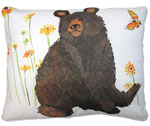 Brown Bear w/Yellow Butterfly Outdoor Pillow