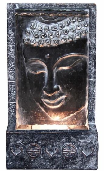 Buddha Face Lighted Wall Fountain - Click to enlarge