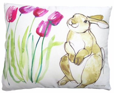 Bunny with Tulips Outdoor Pillow - Click to enlarge