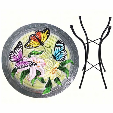Butterflies Glass Birdbath w/Stand - Click to enlarge