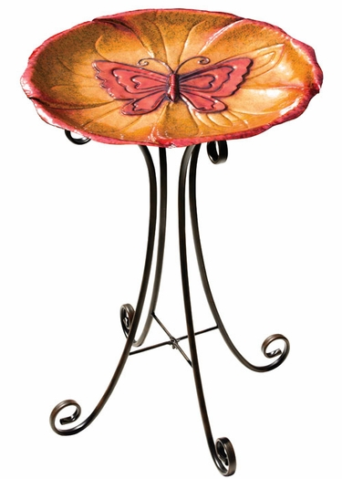Butterfly Bird Bath w/Stand - Click to enlarge
