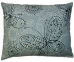 Butterfly Circles Gray Outdoor Pillow