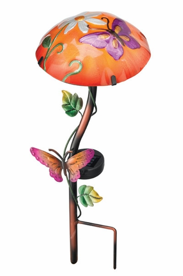 Butterfly Solar Powered Mushroom Light Stake - Click to enlarge