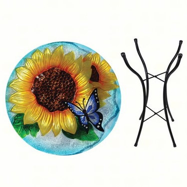 Butterfly Sunflower Glass Birdbath w/Stand - Click to enlarge