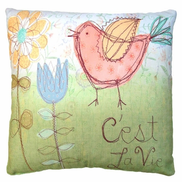 C'est La Vie Bird Outdoor Pillow - Click to enlarge