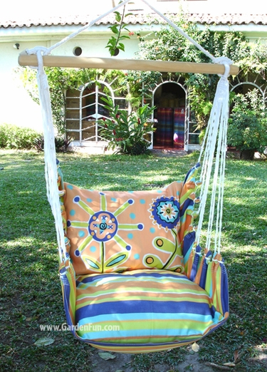 Cabana Stripe Wild Flower Hammock Chair Swing Set - Click to enlarge