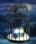 Caged Owl on Skull w/Color Changing LED & Timer