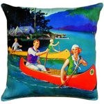 Canoes on Lake Outdoor Pillow