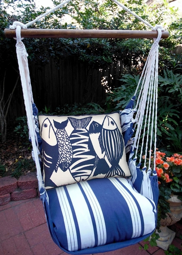 Marina Stripe Blue Fish Hammock Chair Swing Set - Click to enlarge