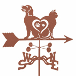 Cat & Dog Love Weathervane