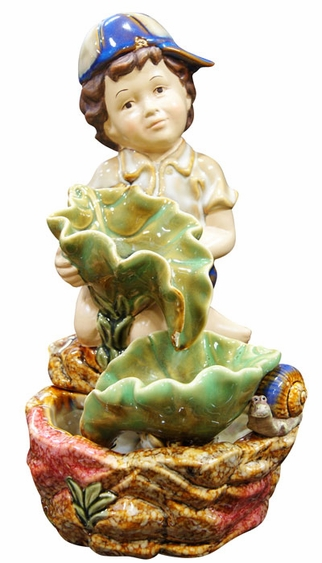 Ceramic Boy Tabletop Fountain - Click to enlarge