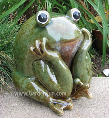 Incroyable Ceramic Frog Statue   Garden Thinker