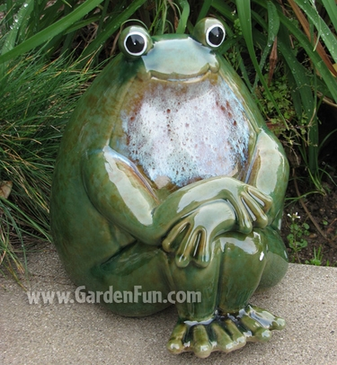 Ceramic Frog Statue - Peaceful Garden - Click to enlarge