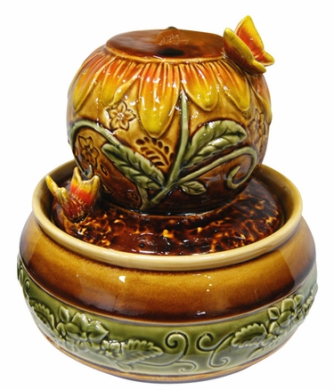 Ceramic Sunflower Tabletop Fountain - Click to enlarge