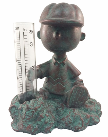 Charlie Brown Rain Gauge - Patina Bronze - Click to enlarge