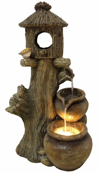 Charming Birdhouse Outdoor Fountain w/LED Lights - Click to enlarge
