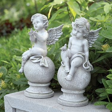 Cherub Statues w/Birds (Set of 2) - Click to enlarge