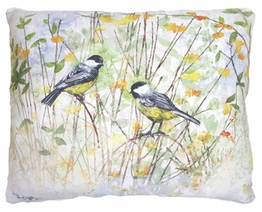 Chickadee Birds Outdoor Pillow - Click to enlarge