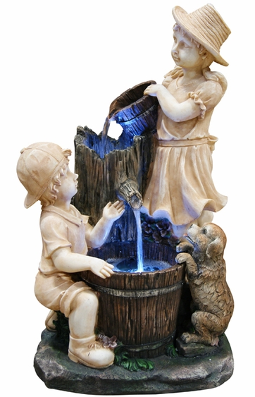 Children and Puppy Outdoor Fountain w/LED Lights - Click to enlarge