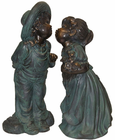 Children Kissing Garden Statue - Click to enlarge