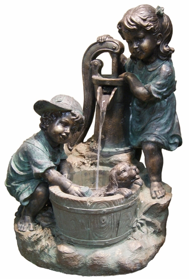 Children Washing Puppy Outdoor Fountain w/LED Lights - Click to enlarge