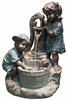 Children Washing Puppy Outdoor Fountain w/LED Lights