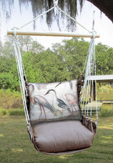 Chocolate Herons Marching 3 Hammock Chair Swing Set - Click to enlarge