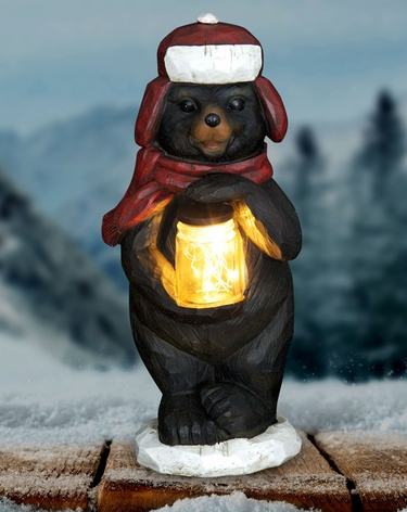 LED Bear w/Jar of Fireflies - Battery Powered - Click to enlarge