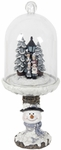 Christmas Carolers Dome on Snowman Pedestal w/LED Timer