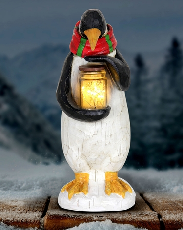 Led Penguin W Jar Of Fireflies Battery Powered Only 39