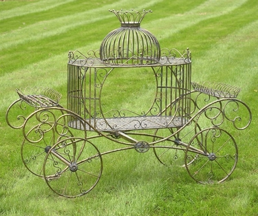 Cinderella Carriage Plant Stand - Frosted Gold - Click to enlarge