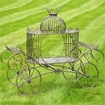 Cinderella Carriage Plant Stand - Frosted Gold