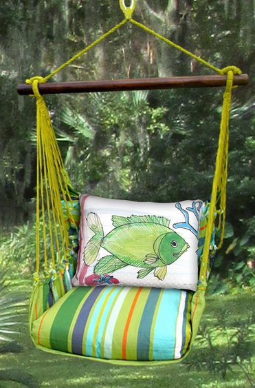 Citrus Stripe Fish w/Coral Hammock Chair Swing Set - Click to enlarge