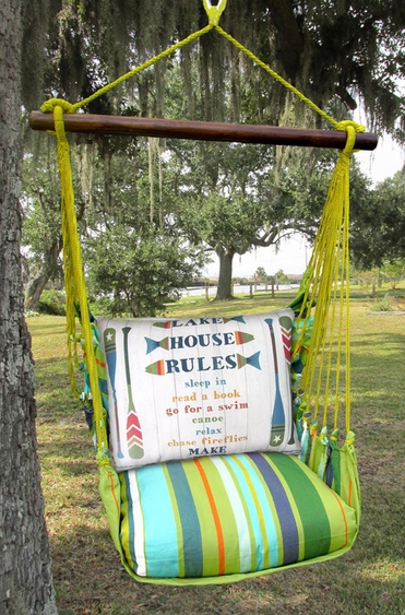 Citrus Stripe Lakehouse Rules Hammock Chair Swing Set - Click to enlarge
