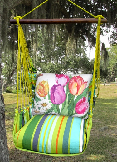Citrus Stripe Spring Bouquet Hammock Chair Swing Set - Click to enlarge