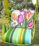 Citrus Stripe Spring Bouquet Hammock Chair Swing Set