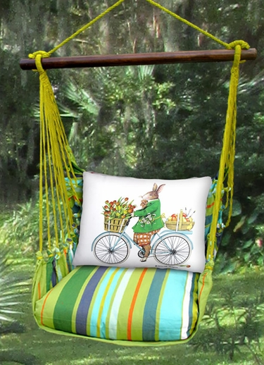 Citrus Stripe Spring Bunny Hammock Chair Swing Set - Click to enlarge