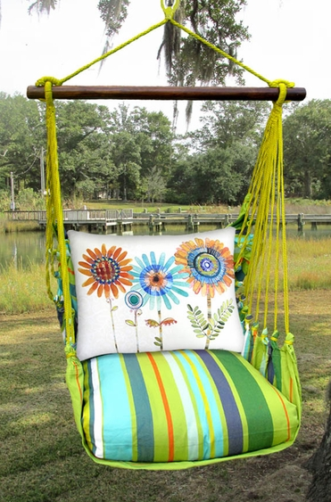 Citrus Stripe Summer Sunflowers Hammock Chair Swing Set - Click to enlarge