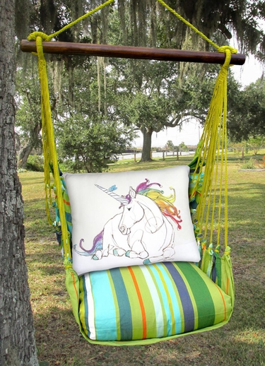 Citrus Stripe Unicorn Dream Hammock Chair Swing Set - Click to enlarge