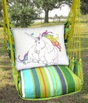 Citrus Stripe Unicorn Dream Hammock Chair Swing Set