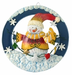 Classic Metal Snowman Wall Plaque