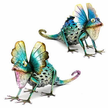 Colorful Metal Iguana Statues (Set of 2) - Click to enlarge