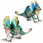 Colorful Metal Iguana Statues (Set of 2)