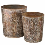 Copper Birch Garden Stools & Planters (Set of 2)