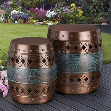 Copper Quatrefoil Garden Stools & Planters (Set of 2) - Click to enlarge