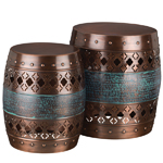 Copper Quatrefoil Garden Stools & Planters (Set of 2)